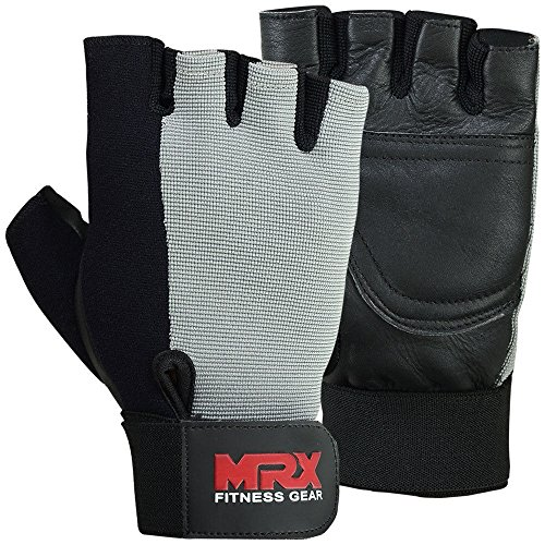 7.5' Pan (Half Finger Weight Lifting Training Gloves Gym Fitness Exercise Glove Leather Gray Black (S: 6.5