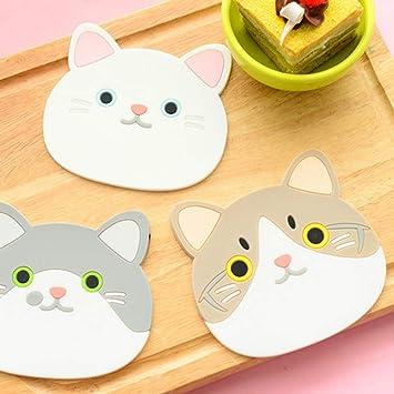 Scelet Patrón de Gato Posavasos Lindo de Dibujos Animados de Silicona Café Beber Taza Mantel de Cocina Pot Pad Suministros de Cocina: Amazon.es: Hogar