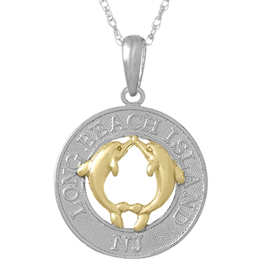 925 Sterling Silver Travel Pendant with 18 Inch Chain, Long Beach Island, NJ, On Round, 14k Gold Dolphins Center