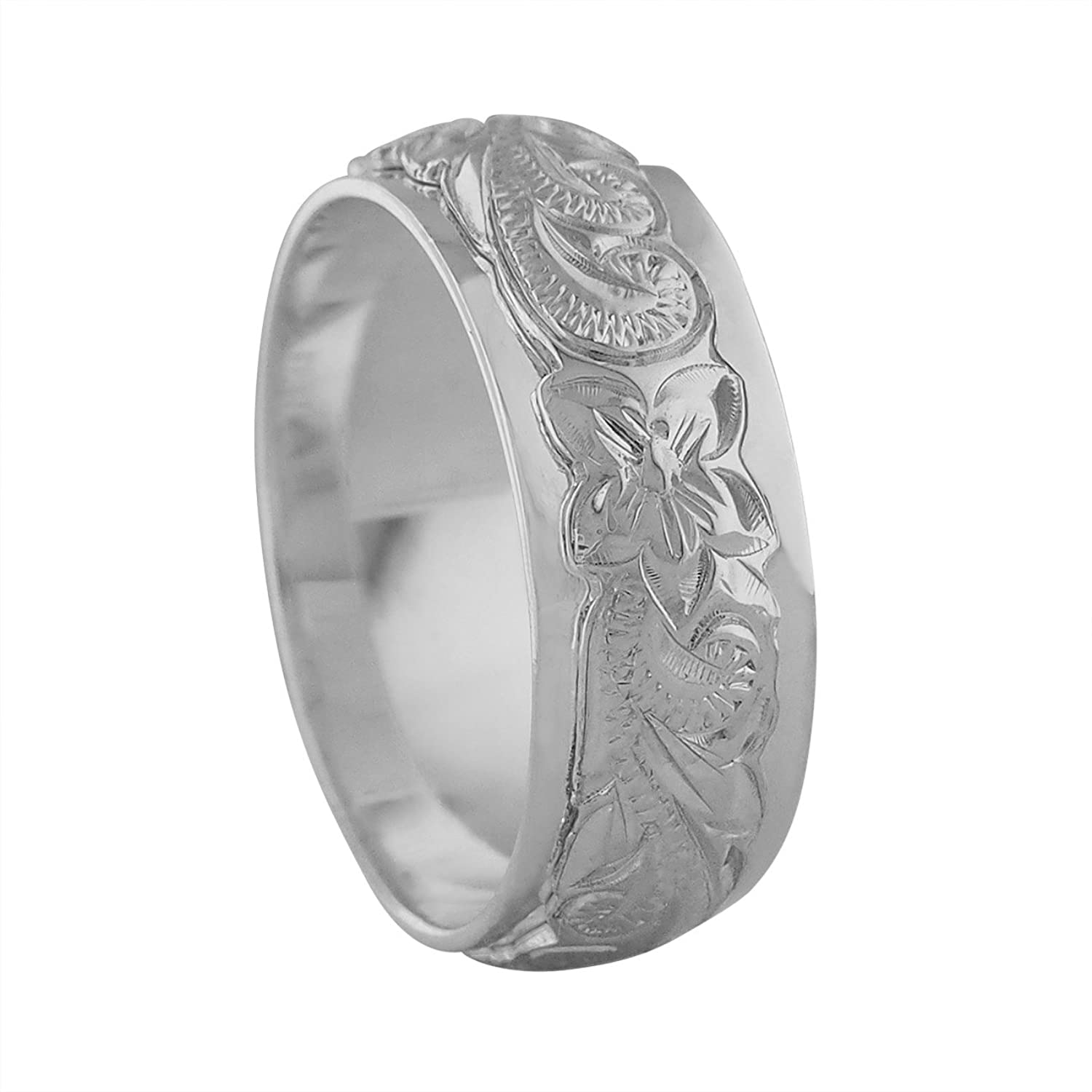 sterling silver raised hawaiian band ring jewelry