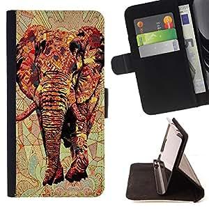 - Elephant Space Aztec - - Monedero PU titular de la tarjeta de cr?dito de cuero cubierta de la caja de la bolsa FOR Sony Xperia Z1 L39 Retro Candy