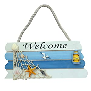 WINOMO Wooden Welcome Sign Front Door Nautical Decor (Blue)