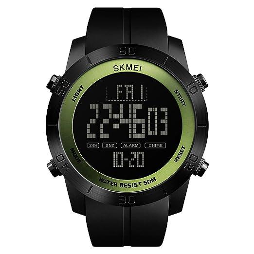 Reloj impermeable multifunción 50 metros brújula impermeable dial grande reloj de hombre hora mundial EL luz reloj de alarma cronómetro deportes al aire ...