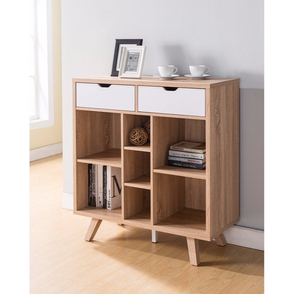 Benzara BM148839 Buffet Table with Cutout Handles Drawers
