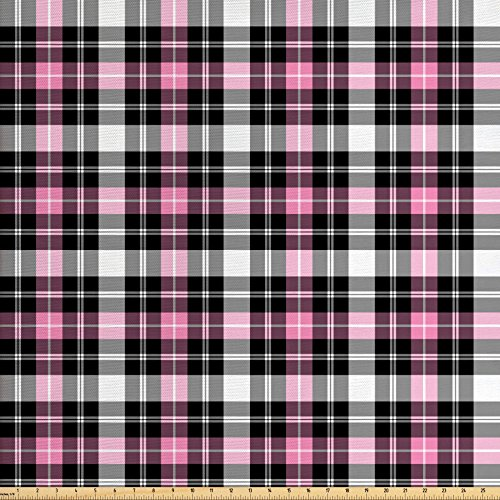 Home Plaid Fabric Decor (Lunarable Plaid Fabric by the Yard, Checkered Feminine Fashion Pattern Classical Country Style with Modern Look, Decorative Fabric for Upholstery and Home Accents, Pale Pink Black Gray)