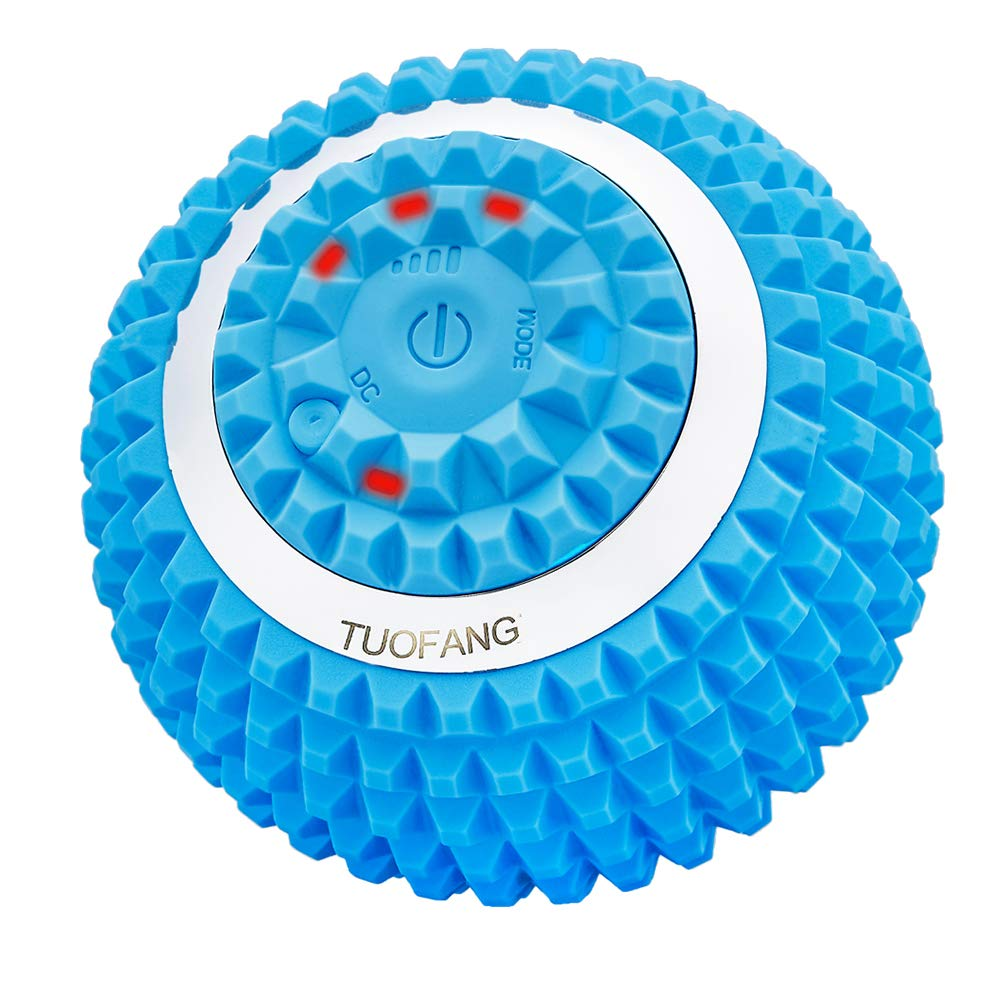 Vibrating Massage Ball - 4-Speed High-Intensity Fitness Yoga Massage Roller, Relieving Muscle Tension Pain & Pressure Massaging Balls, Electric Rechargeable Washable Vibrating Massage Ball (Blue) by TuoFang