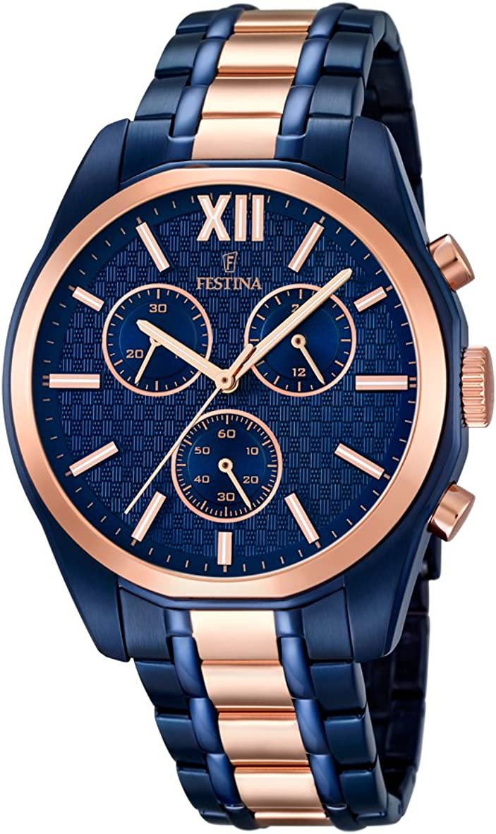 Festina F16857/1 - Reloj de Pulsera Hombre, Acero Inoxidable, Color Azul