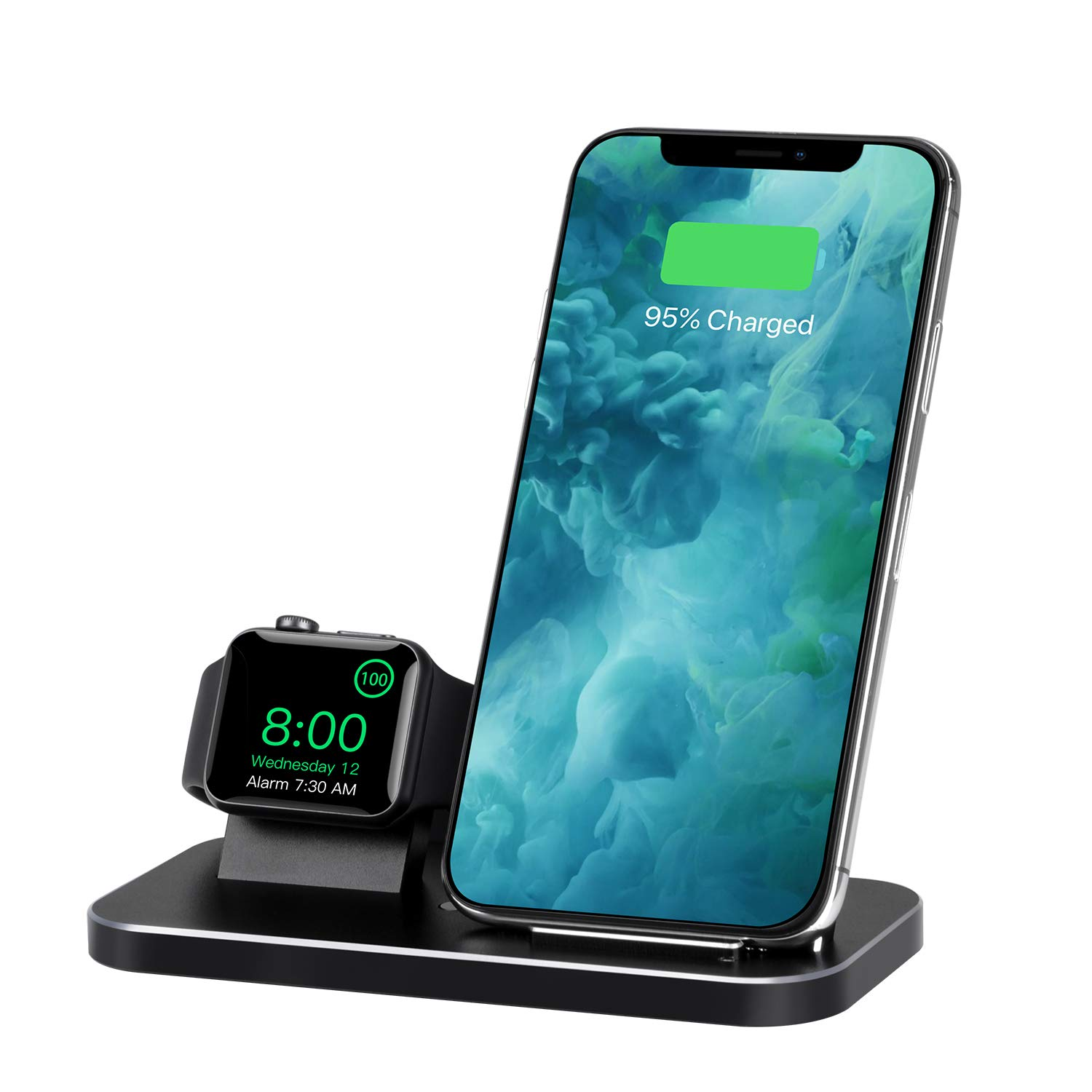 BNCHI 2 in 1 Aluminum Alloy Phone Wireless Charger Stand & Charging Station Compatible iWatch Holder Series 4/3/2/1/iPhone 11/11pro/X/Xs/Xs MAX/8 Plus/8 (Black) by BNCHI