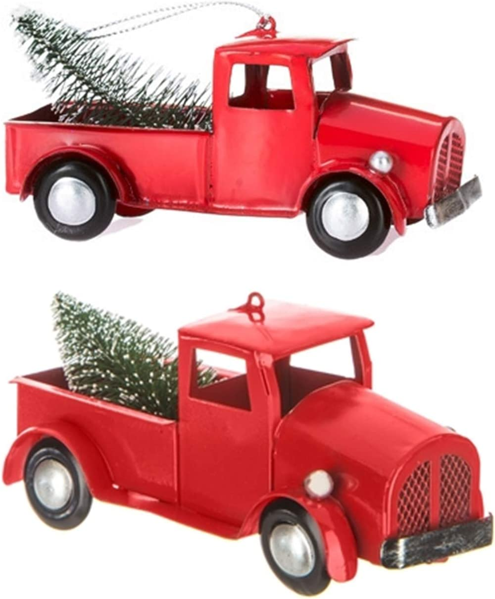 Happy Deals~ 2 Pack | Vintage Old Red Toy Truck with Christmas Tree in Bed Ornament | Metal | 5 inch