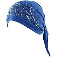 Fossrn Turbantes para Mujer Cancer, Sombrero de Cancer Chemo Sombrero Beanie Bufanda Rhinestone Wrap Cap Cabeza de…