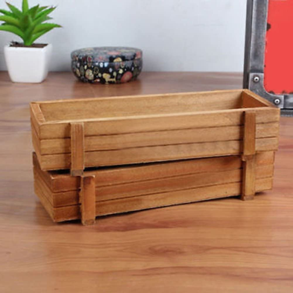 Amazon Com Ekqw015l Miniature Ornaments Plant Pots Bonsai Garden Accessories Rectangle Wooden Planter Box Garden Yard Flower Succulent Container Planting Pot Home Kitchen