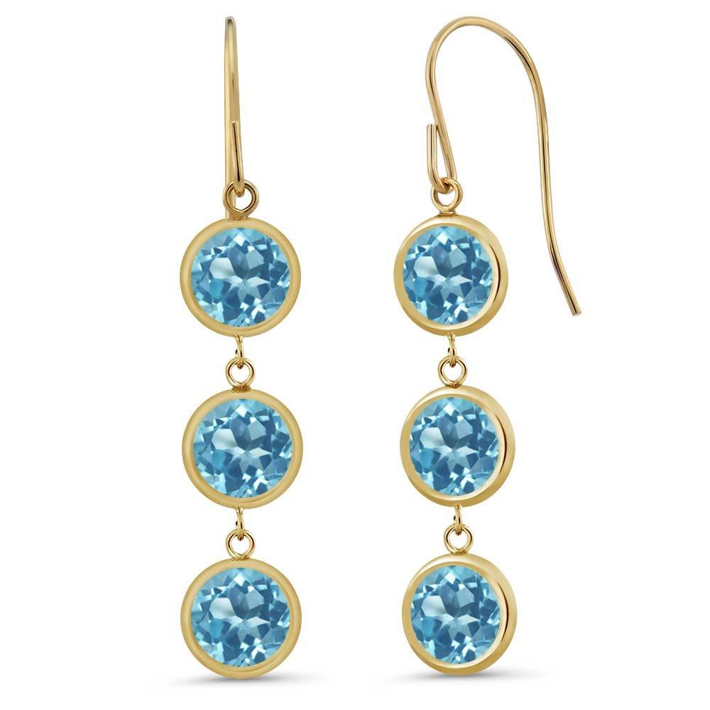 3.60 Ct Round Swiss Blue Topaz 14K Yellow Gold Bezel 1'' Dangle Women's Earrings