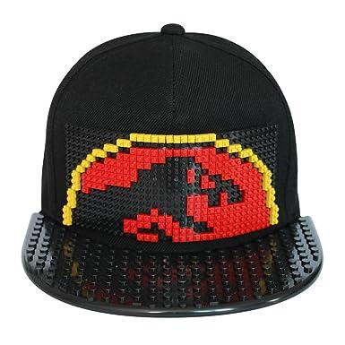 7a5b367f20b Toy Building hat Bricky Blocks Cap Snapbacks Hat Baseball Cap DIY Grid Hat  Building Kit for