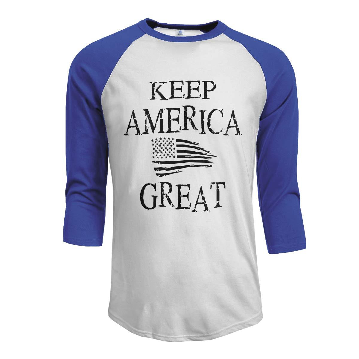 XYMYFC-E Keep America Great American Flag Adult Mens Long Sleeve T Shirt
