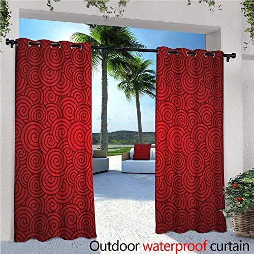 familytaste Red Fashions Drape Swirl Lines Spirals Abstract Design with Chinese Culture Influences for New Year Celebration Outdoor Curtain Waterproof Rustproof Grommet Drape W96 x L84 Red (Peanut Red Spiral)