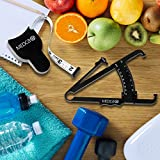 Body Fat Caliper and Measuring Tape for Body - Skin Fold Body Fat Analyzer and BMI Measurement Tool by MEDca