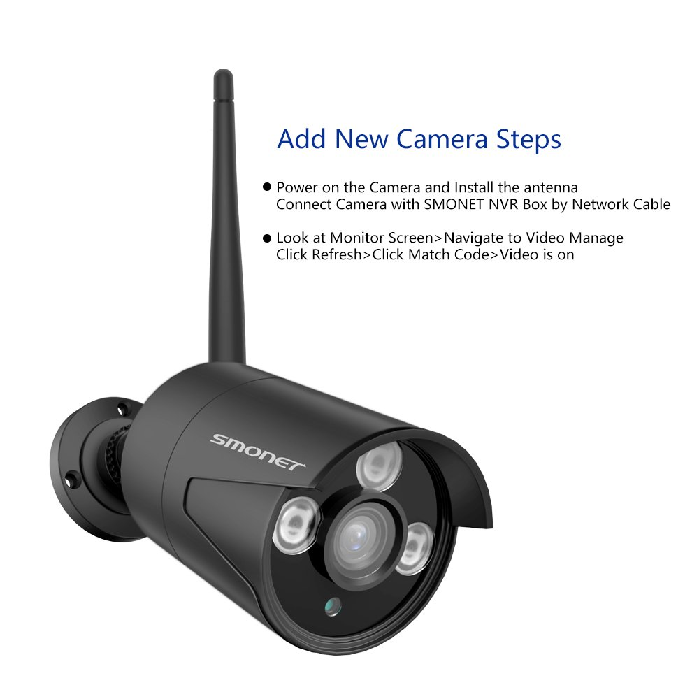 Wireless 1080P IP Camera,SMONET Mega 2.0 HD CCTV Camera, Outdoor/Indoor Bullet Camera with Fixed 4mm or 3.6mm Lens,65Ft Night Vision,3pcs Array LED Light w/Bracket, Black,No Power Supply