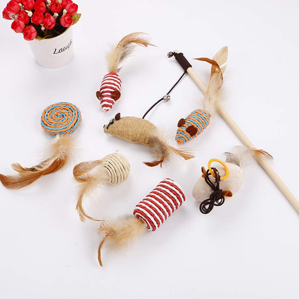 Palmula 7Pcs Cat Toys Variety Pack Feather Toys for Kitten, Natural Interactive Teaser Wand with Feather Ball Bell Mice for Cat,Puppy