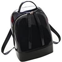 Tinksky Middle Size Jelly Backpack Cute Candy Color Backpack for Teenage Girls Silicone Waterproof Backpack School Women Bag Christmas Gift (Black)
