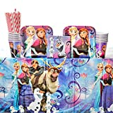 Disney Frozen Magic Party Supplies Pack for 16 Guests - Straws, Dessert Plates, Beverage Napkins, Table Cover, and Cups