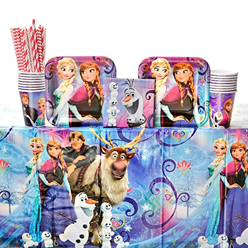 Frozen Magic Birthday Party Supplies Pack for 16 Guests | 24 Straws, 16 Dessert Plates, 16 Beverage Napkins, 16 Cups, and 1 Table Cover | Celebrate Your Little Princess's Birthday with Anna and Elsa! ()