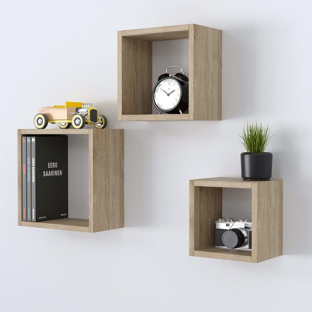 Wandregal 3er Set Cube Regal Holz Natur 16cm 21cm Würfelregal Hängeregal Deko