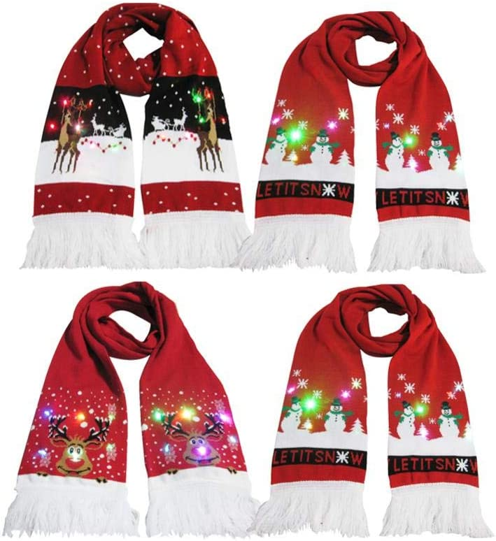 Dinapy-123 Navide/ña Bufanda Luminosa Bufanda de Borla de Punto c/álido para decoraci/ón navide/ña