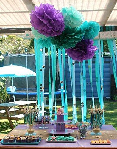 Furuix Mermaid Baby Shower Decorations//Mermaid Party Decor//Purple Teal Pink Party Decorations Purple Teal Paper Pom Pom Paper Lanterns Little Mermaid Party Decorations//Mermaid Bridal Shower Decor