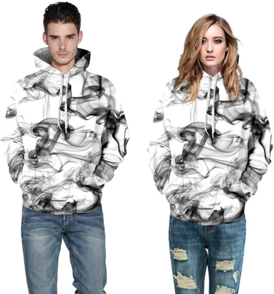 XIN Männer/Frauen 3D Sweatshirts Print Aquarell verträumt Rauch Linien dünne Kapuzen-Sweatshirts,M ** L