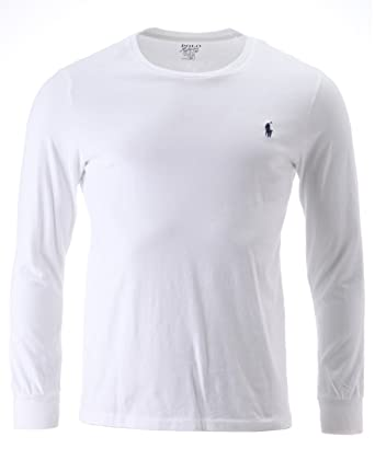 f652e08a97b1d Ralph Lauren Polo Mens Classic Fit Long Sleeved Crew Neck T Shirt White ( Medium)  Amazon.co.uk  Clothing