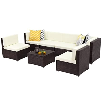 Wisteria Lane 7 PCS Patio Furniture Conversation Set,Outdoor Sectional Sofa  Set All Weather Brown