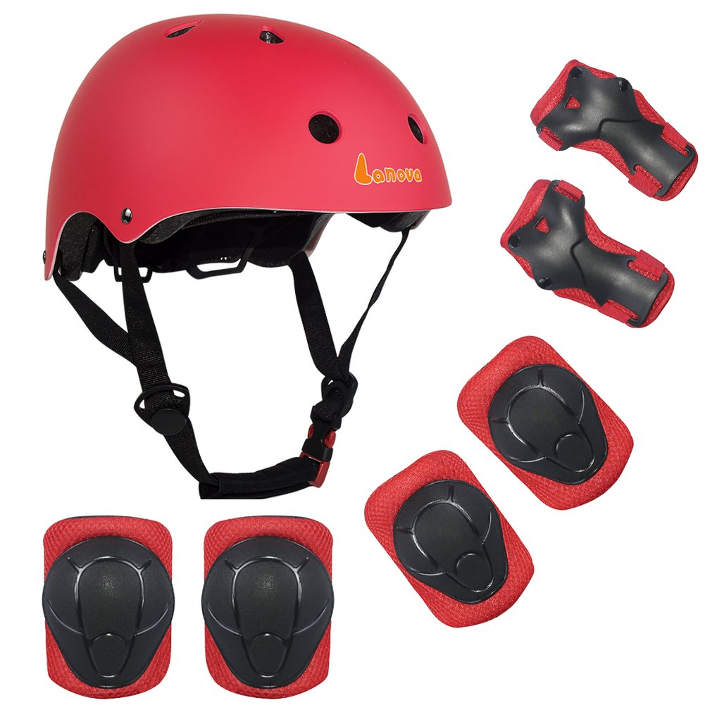 LANOVAGEAR Kids Toddler Cycling Bicycle Protective Gear Set 7pcs Boy Girl Adjustable Helmet Elbow Knee Wrist Pads for Multi Sports Skateboarding Rollerblading Bike (Red, Small)