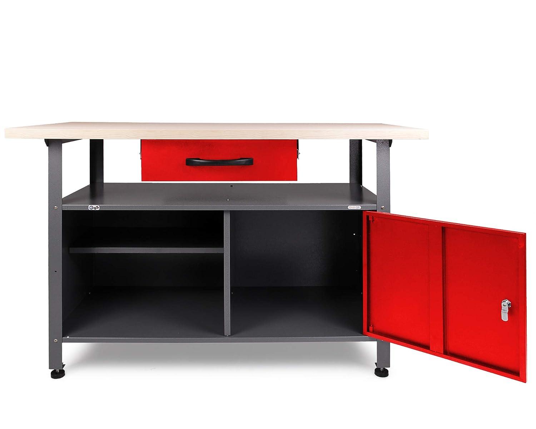 Ondis24 Klaus Werkbank-Set grau 120,0 x 60,0 cm rot
