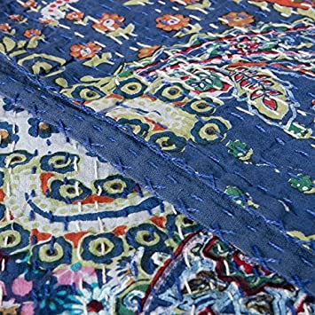 Yuvancrafts Indian Brid Print Twin Cotton Kantha Quilt Throw Blanket Bedspread Throw Gudari