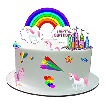 850a49389fe Rainbow Unicorn Stand Up Cake Scene Made From Edible Wafer Paper - Perfect  for Decorating Your