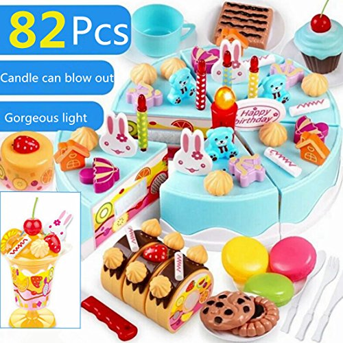 RAVPump 82Pcs Birthday Cake Pretend Play Food Toy Set for Children Early Development and Education (Main Blue)