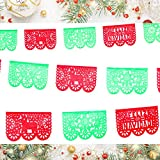 5 Pk Feliz Navidad Red and Green Papel Picado Flags, Holiday and Spanish Christmas Party Decorations, 50 Panels Made from Tissue Paper Over 60ft Long WS12