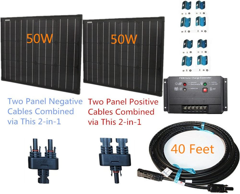 100w 100 Watt Two 50w SuperBlack Solar Panels Plug-n-Power Space Flex Kit for 12v Off Grid Battery - Next Day from U.S. 61Le-fkPGDLSL1000_