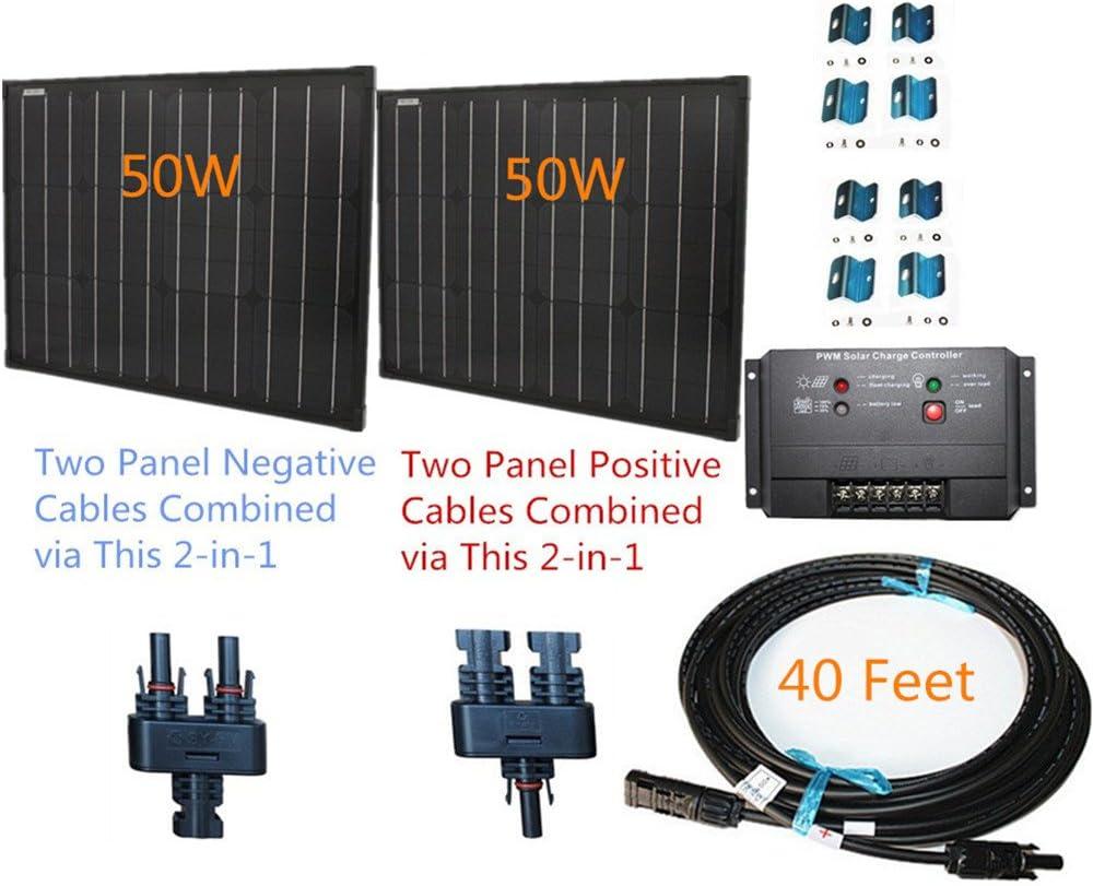 100w 100 Watt Two 50w SuperBlack Solar Panels Plug-n-Power Space Flex Kit for 12v Off Grid Battery - Next Day from U.S.