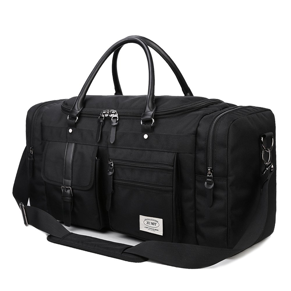ZUMIT Travel Duffel Bag 45L 60L Square Black Business Weekend Tote Bag Gym Sports Holdall Bag Water-resistant Luggage Bag #806