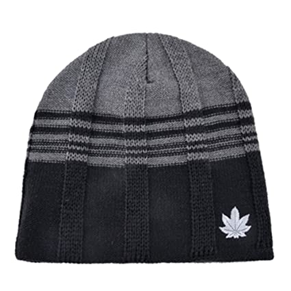 8d0e889ddb1 Amazon.com  VIKOPER Solid Color Men s Knitted Wool Beanie Plus ...