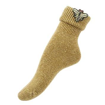 ulaky mujeres invierno Calcetines de lana gruesa caliente calcetines de punto bordado