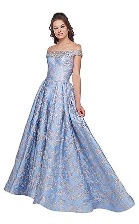a74d18d88794 Mac Duggal Ballgowns - 66782H Jeweled Off Shoulder Metallic Ballgown at  Amazon Women's Clothing store: