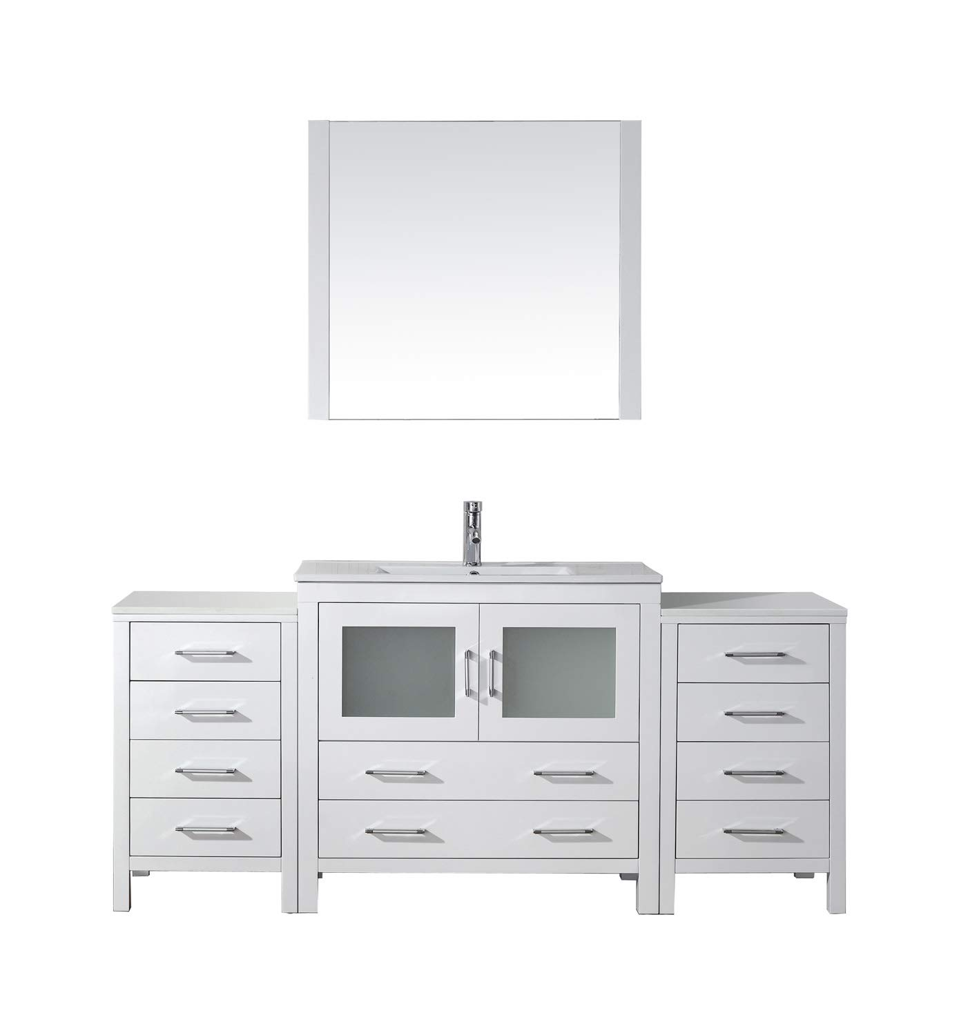 Super Virtu Usa Ks 70072 C Wh 001 Dior 72 Single Bathroom Vanity White Ceramic Top And Square Sink With Brushed Nickel Faucet And Mirror 72 Inches Home Remodeling Inspirations Cosmcuboardxyz