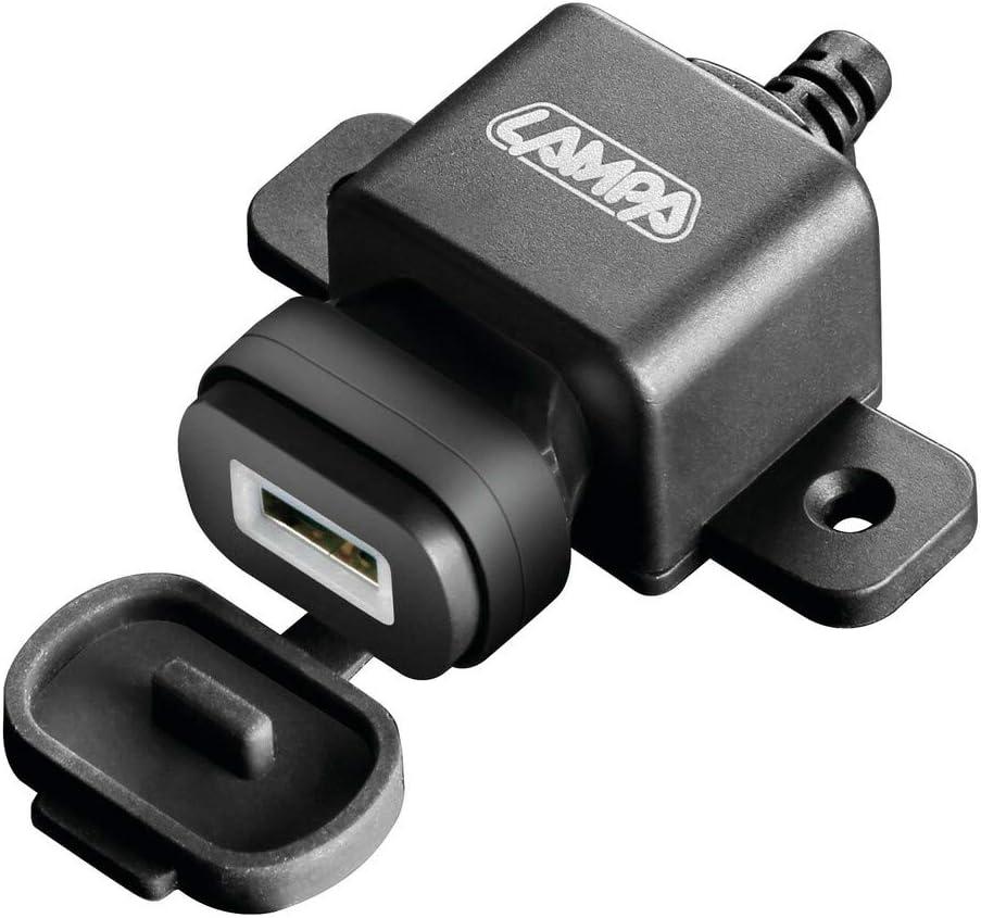 Caricatore USB con Fissaggio a Vite e spinotto Universale 2400 mA Lampa 38833 USB Fix Plug Fast Charge 12//24V