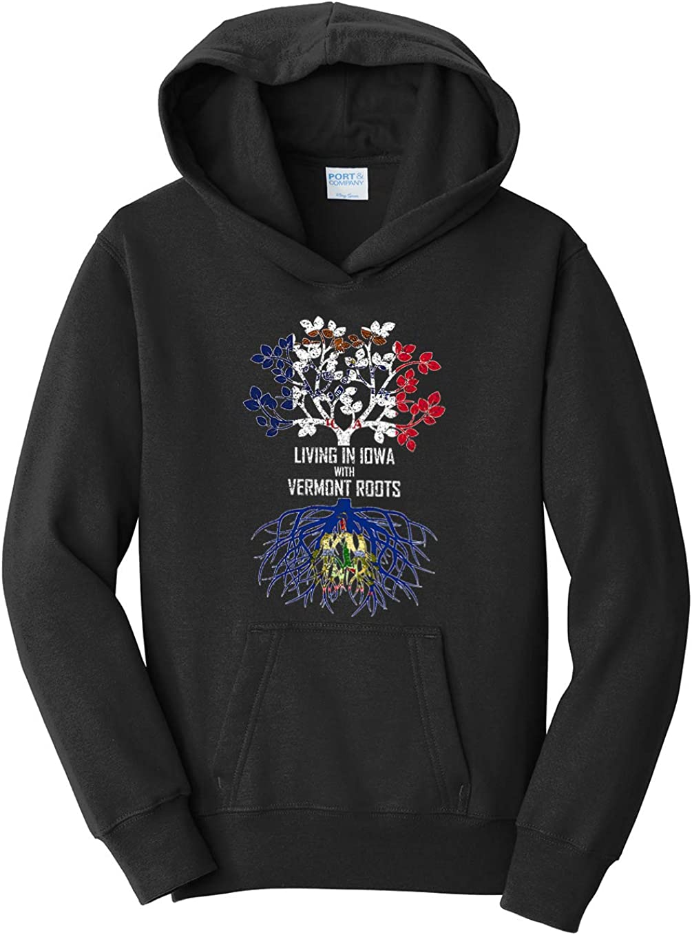 Tenacitee Girls Youth Living in Iowa with Vermont Roots Hooded Sweatshirt Black Large