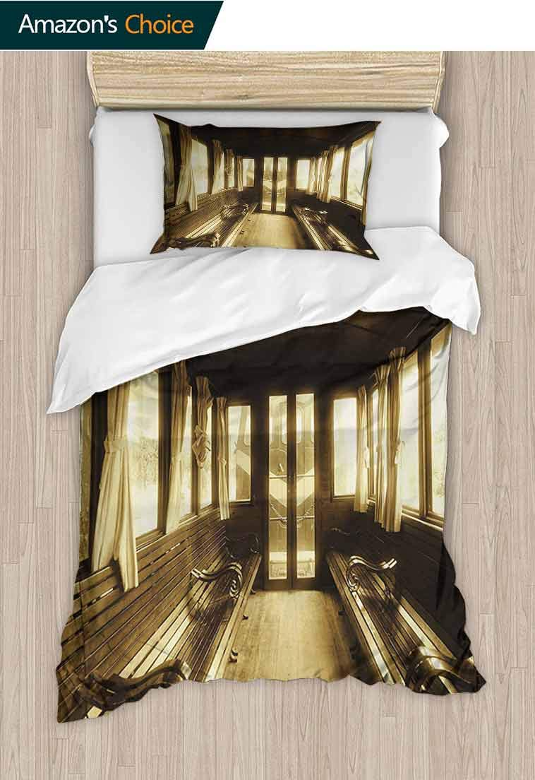 Antique Custom Made Quilt Cover and Pillowcase Set, Old Vintage Train Salon Inside Historical Transport Windows with Curtains Arch Shape, Decorative 2 Piece Bedding Set with 1 Pillow Sham Sepia