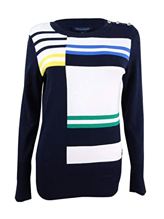 ac8a63751 Tommy Hilfiger Roadmap Intarsia Colorblocked Sweater at Amazon ...