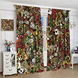 smallbeefly Casino Blackout Window Curtain Doodles Style Artwork of Bingo and Cards Excitement Checkers King Tambourine Vegas Customized Curtains 72''x72'' Multicolor