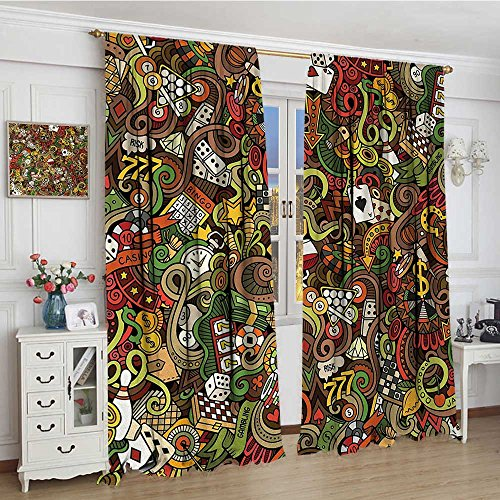 smallbeefly Casino Blackout Window Curtain Doodles Style Artwork of Bingo and Cards Excitement Checkers King Tambourine Vegas Customized Curtains 72''x72'' Multicolor by smallbeefly